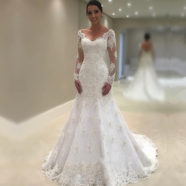 Elegan Lengan Panjang Pernikahan Gaun 2018 Putri Duyung Renda Gaun