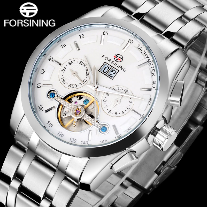 FORSINING Men Sports Mechanical Watch Men's Stailess Steel Tourbillon Automatic Watches Relogio Masculino Date Week Month Dial forsining a165 men tourbillon automatic mechanical watch leather strap date week month year display