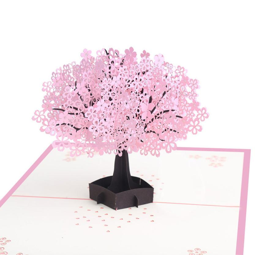 3D Pop Up Birthday Greeting Postcards Gift Cards Custom Laser Cut Tree Blank Vintage Invitation Marriage Messages