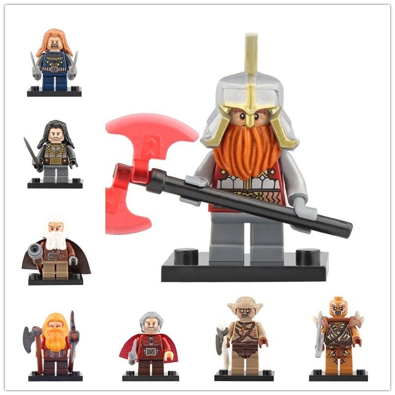 8Pcs/Set Legoed Lord Of The Rings Building Blocks Fili Ironfoot Dain Goblin Dori Action Minifigured Model Children Toys CP8183