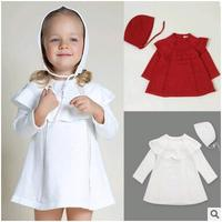 Brands baby girl cute white red Knitted Cotton baby dress+hat baby Girl dress Children Clothings