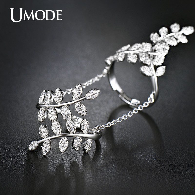 UMODE Olive Branch Finger Rings Micro CZ White Gold Color With Chain Jewelry for Women Bague Femme Female Ring Bijoux UR0266 fashion party jewelry rings for women gold color cz snake dames ringen design christmas gift bague femme open rings ka0167