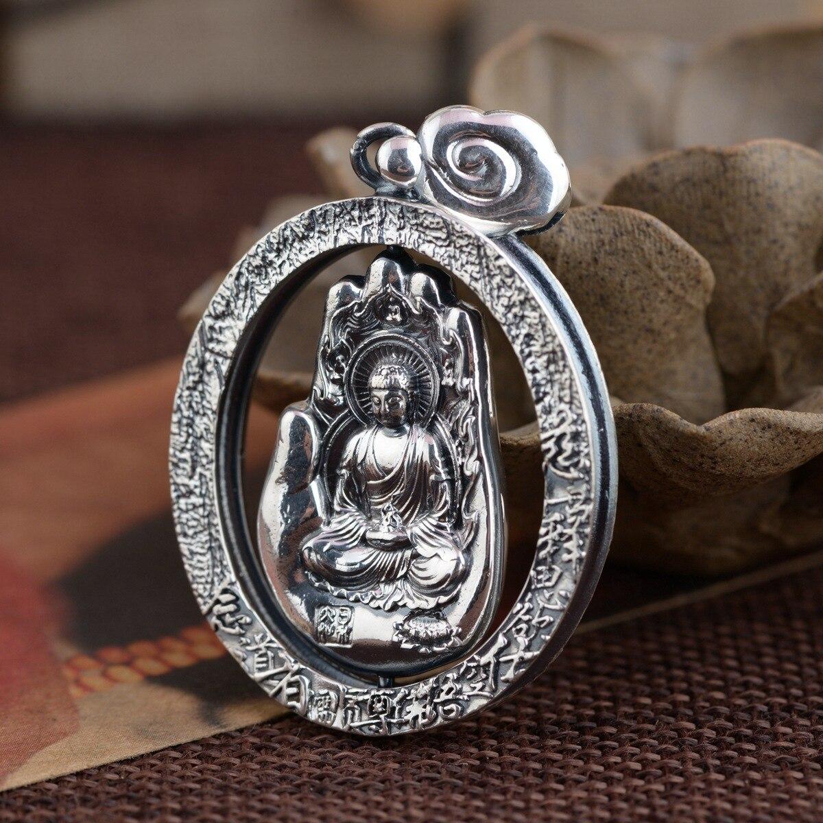 Artisanat Antique en argent 990, pendentif zodiaque Bodhisattva douze