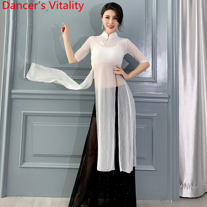 Belly Dance Practice Clothes Sexy Split Top Loose Pants Set New 2019 Spring Summer Modern Classical Dancing Training Garments