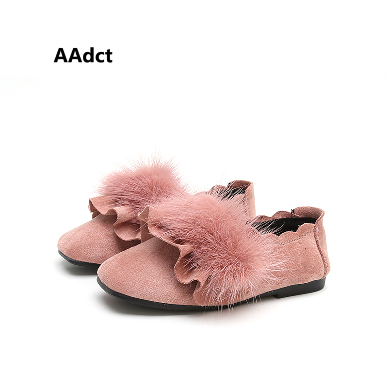 AAdct 2017 Fashion princess girls shoes soft leather All-match soft sole children shoes for girls Mink fur autumn new kids shoes