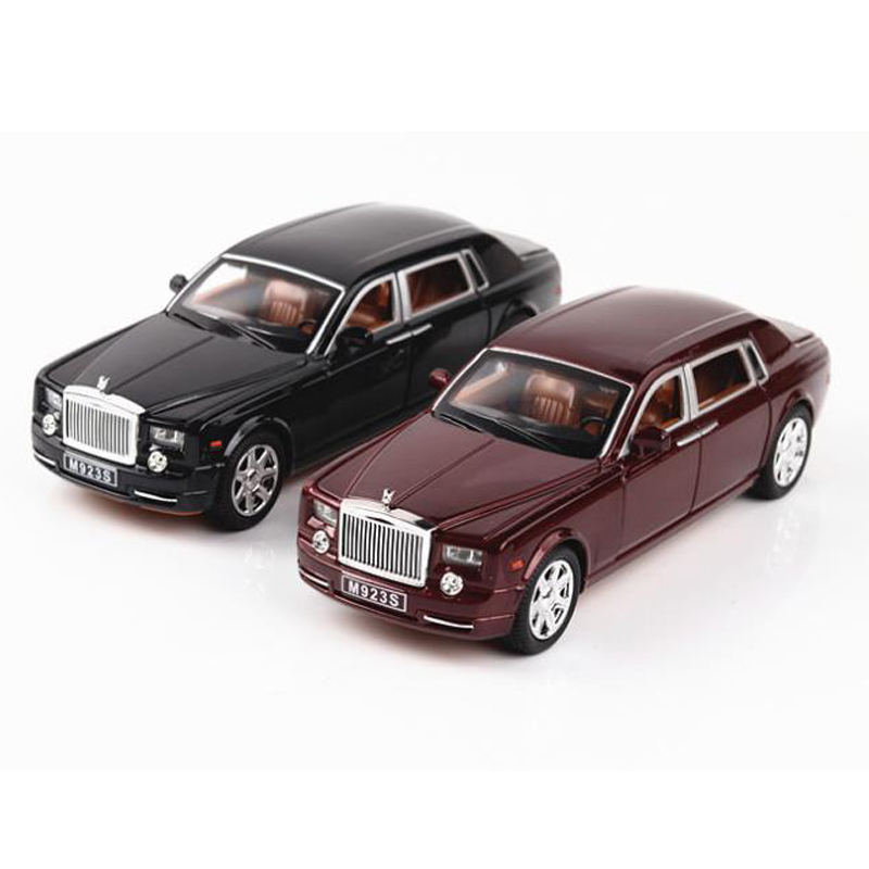 1:24 Car Model Rolls-Roy Phantom Lengthened Vehicles Diecast Alloy Model Light Models High Simulation Toy Gift Collection