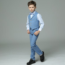 New Fashion Kids Boys Blue Plaid 4pcs(Strap/Vest+Pants+Shirts+Bow tie) for Wedding Groom/Performance/Birthday Blazer Suit Set(China)
