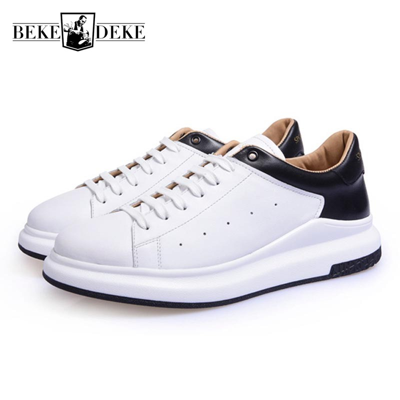 Men Genuine Cow Leather Black White Casual Shoes 2018 New Students Breathable Footwear Male Lace Up Thick Platform Driving Shoes klywoo new white fasion shoes men casual shoes spring men driving shoes leather breathable comfortable lace up zapatos hombre