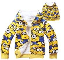4-11Y Children's Winter Outwear Kids Clothes Fleece Jackets Sweatshirt Despicable Me Yellow Minions Hoodies Boys Warm Coats