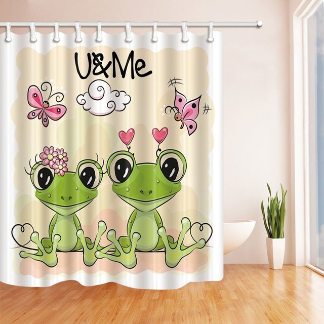 Two Cute Cartoon Frogs On Orange For Kids Background Bath Curtain Polyester Fabric Waterproof Shower