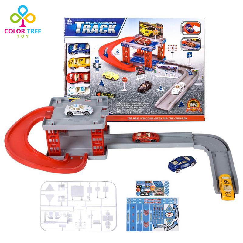 kids toys racing car park track builder set mini car model birthday gifts for boys