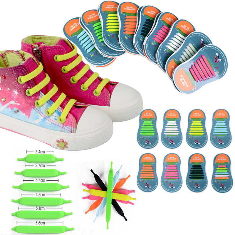 12pcs/lots Kids No Tie Shoelaces For All Sneakers Running Athletic Lazy Shoelace Girls Boys Children Elastic Silicone Shoe Lace 96pcs 130mm scroll saw blade 12 lots jig cutting wood metal spiral teeth 1 8 12pcs lots 8 96pcs