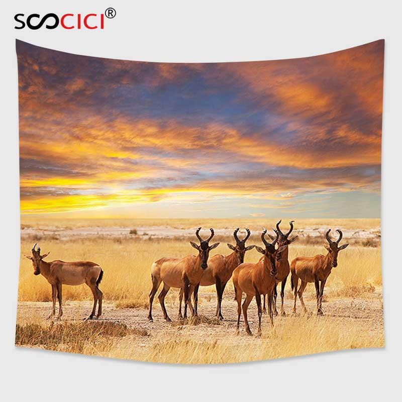 Cutom Tapestry Wall Hanging,Safari Decor Antelope Crowd on Grassland ...