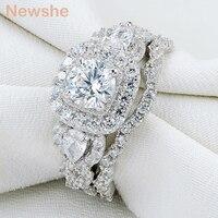 Newshe סטי טבעת Halo חתונת כסף סטרלינג 925 אמיתי 2 יחידות תכשיטי מתנת אירוסין בנד לנשים גודל 5-10 ספינה מארה