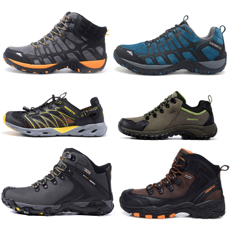 MERRTO Mens Waterproof Mountain Boots Trekking Shoes Leather Hiking Shoes Sports Sneakers Men Five Toes Walking Climbing Shoes merrto men waterproof hiking shoes outdoor sports shoes genuine leather sneakers breathable walking mountain trekking shoes men