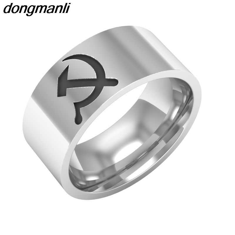 P644 dongmanli Size 7-13 Unique Hammer and sickle Design silver Stainless Steel Ring Titanium Steel Jewelry  Dropshipping