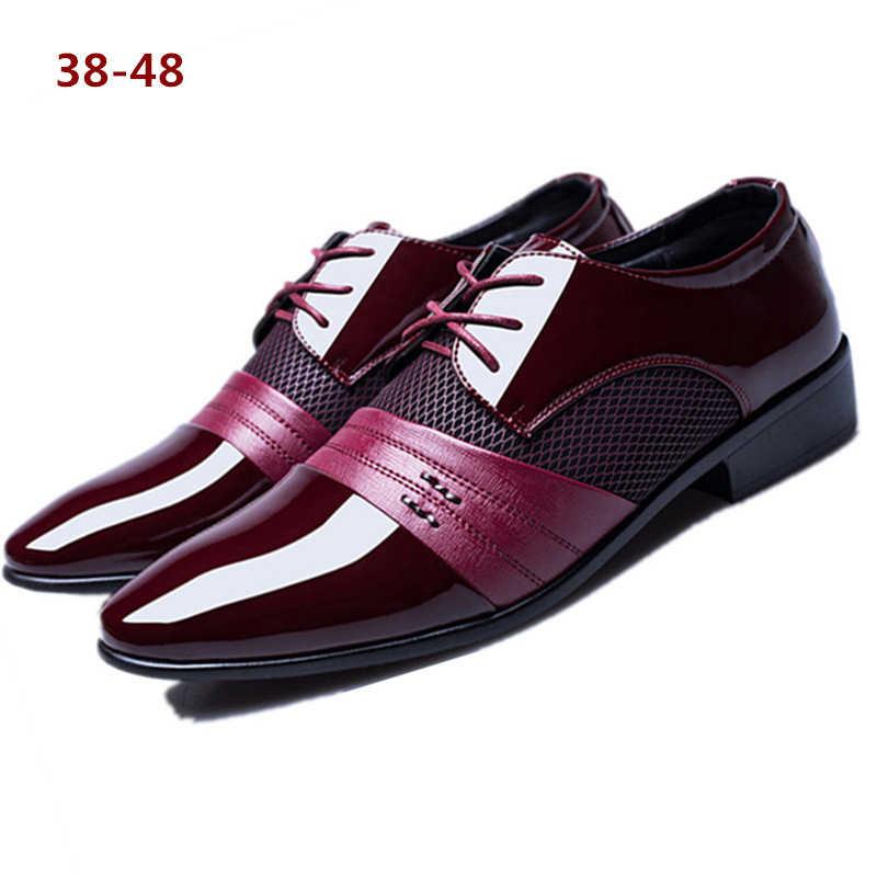 גברים של שמלת נעלי אופנה פטנט עור נעלי גברים מוקסינים מותגים חתונה אוקספורד נעלי גברים לנשימה של גברים פורמליות הנעלה