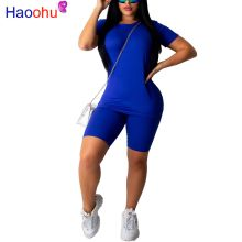 HAOOHU 2 Piece Set 2019 Women Tracksuit Festival Top and Biker Shorts Sweat Suit Two Piece Matching Set Neon Sexy Club Outfits