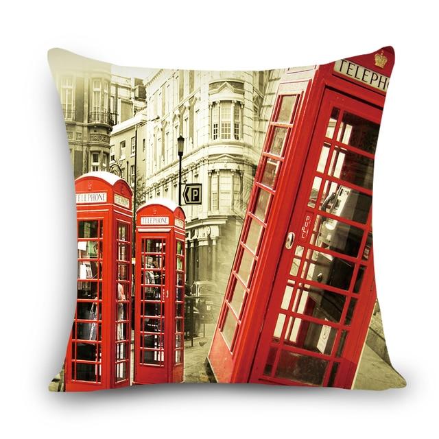 Città di stile london/parigi/NUOVO YOUK stampata cuscino copertina in lino/poliestere caso cuscino di tiro cuscini per la casa arredamento divano 45x45 cm