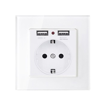 1 2 3 4 gang 2 way White Tempered glass switch Light pressure Wall Switch With LED lights France Germany socket household USB 7