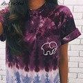 Fêmea Camisetas Tees Verão Pockets Casual Fino XXL Plus Size O-Neck Manga Curta Moda Elefante Colorido Imprimir Camiseta Mulheres