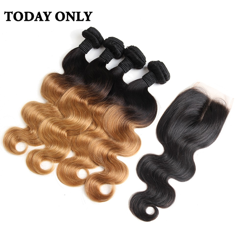 ombre human hair with closure 04