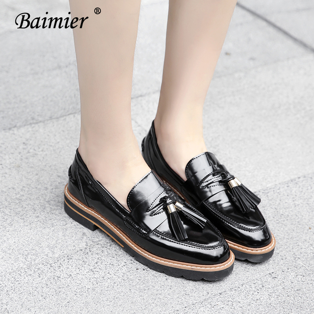 4badffc159f Baimier Brand Shoes Woman Black Patent Leather Oxfords Shoes For Women 2018  British Style Comfortable Slip on Women Flat Shoes