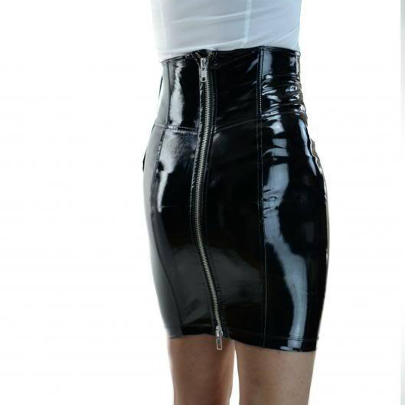 2018 Ladies Sexy Black PVC Patent Leather Skirts Front Back Zipper bandage  Faux Leather Skirts Womens Adult Sexy Gothic Clubwear-in Skirts from  Women s ... 9e805140b2fe