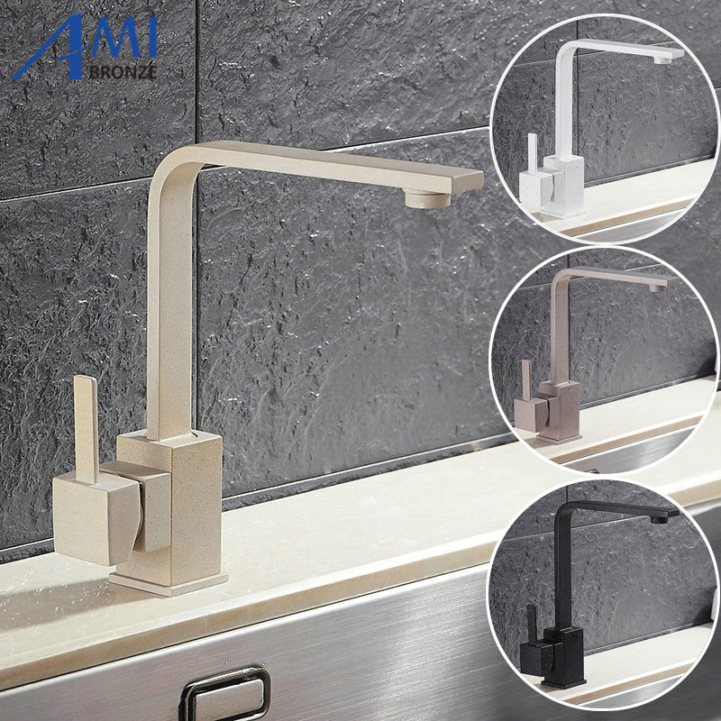 ФОТО Quartz Brass Kitchen Faucet Bathroom Sink Basin Faucets Mixer Tap Faucet 360 Swivel Crane Taps 5Color 8008 Faucet