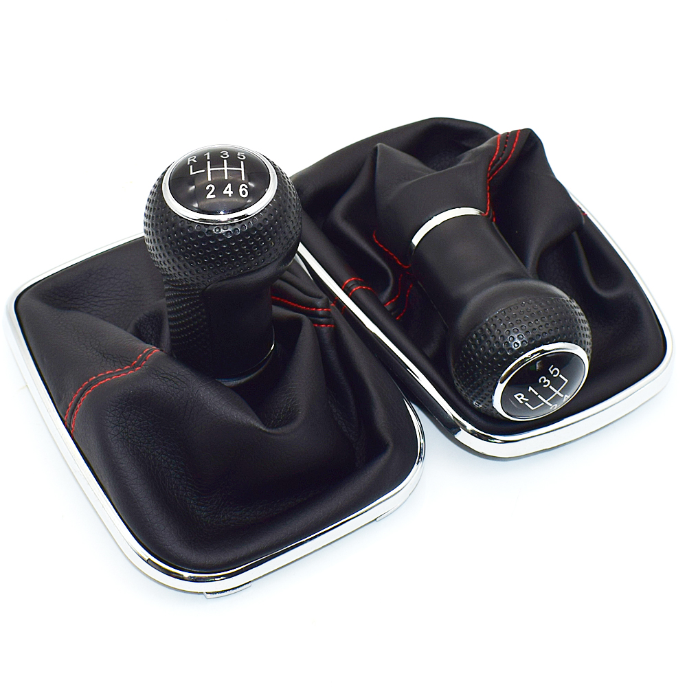 SPEEDWOW Car Gear Shift Knob 5 Speed PU Leather Shifter