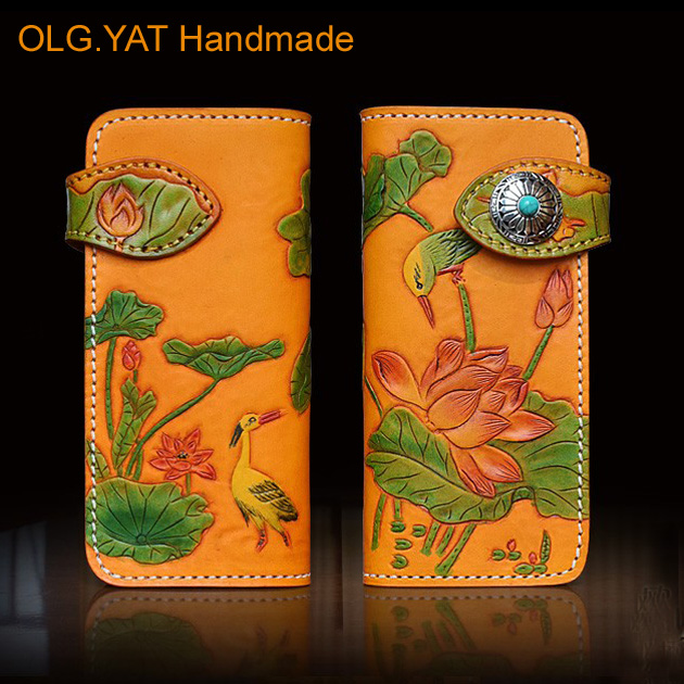 Hong Kong OLG. YAT 2016 New wallet Handmade carving lotus wallet Italian pure leather long  purse elegant  wallets/ hand bag olg yat leather handmade wallet men purse womens handbag italian vegetable tanned cowhide wallets the book button long handbags
