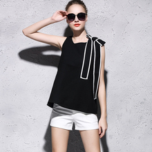 MIUK 2016 Butterfly Sleeveless Black White Summer Cotton Women T-shirts Female Tops Tees