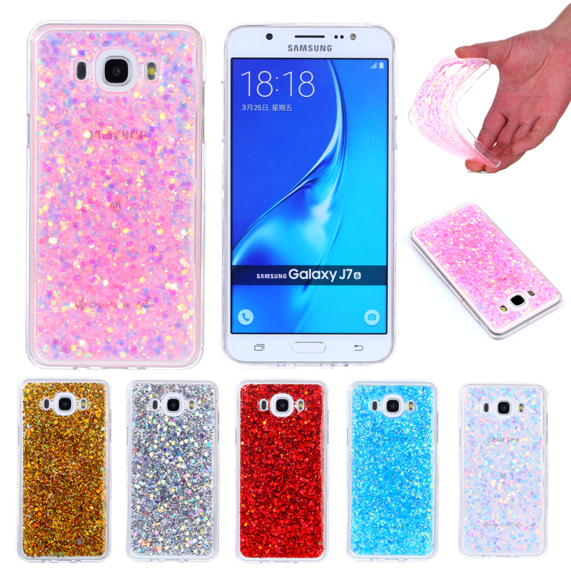 For Samsung J 7 2016 Shining Case Soft Silicone TPU Frame Colored Shiny Glitter Back Cov ...