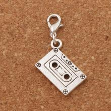 Music Cassette Tape Lobster Claw Clasp Charm Beads 40.4x16.2mm 100pcs Tibetan silver Jewelry DIY C258 triangular arrow lobster claw clasp charm beads 24 4x4 6mm 200pcs tibetan silver jewelry diy c462