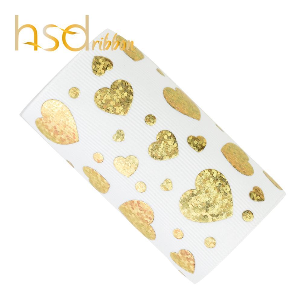 HSDRibbon 75mm 3 inch New Gold love heart Pattern foil on White Grosgrain Ribbon