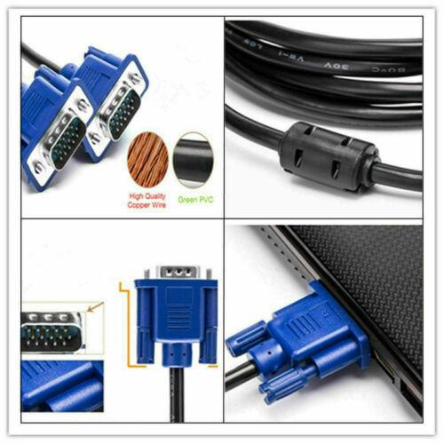 0.5M VGA Male to Male Cable SVGA Monitor Cord Blue Plug for PC Computer lot