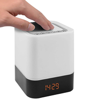 TOP Touch Control Bedside Lamp with Wireless Bluetooth Speaker, Table Alarm Clock Bluetooth with Changing Led Night Light