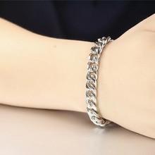 цена oulai777 men bracelet cuban link Chain on hand mens braclet stainless steel jewelry male accessories men\x27s bracelets silver