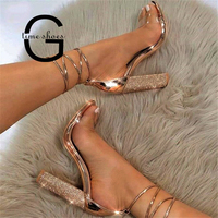 Dropshipping Big Size 43 Women Square Heeled Gladiator Sandals Bandage Rhinestone Ankle Strap Pumps High Heels Patry Shoes SE609