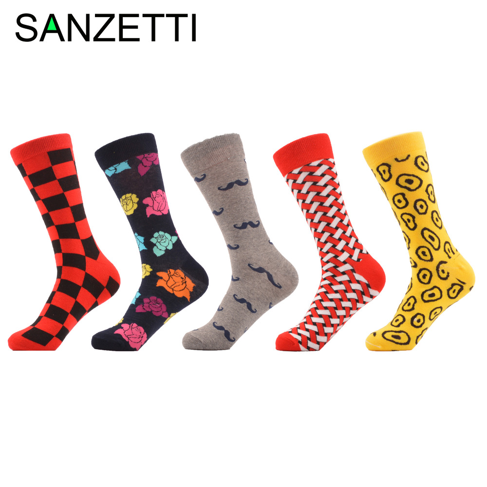 SANZETTI 5 pairs/lot Men's Colorful Novel Combed Cotton Socks Funny Classic Grid Rose Moustache Pattern Dress Casual Crew Socks