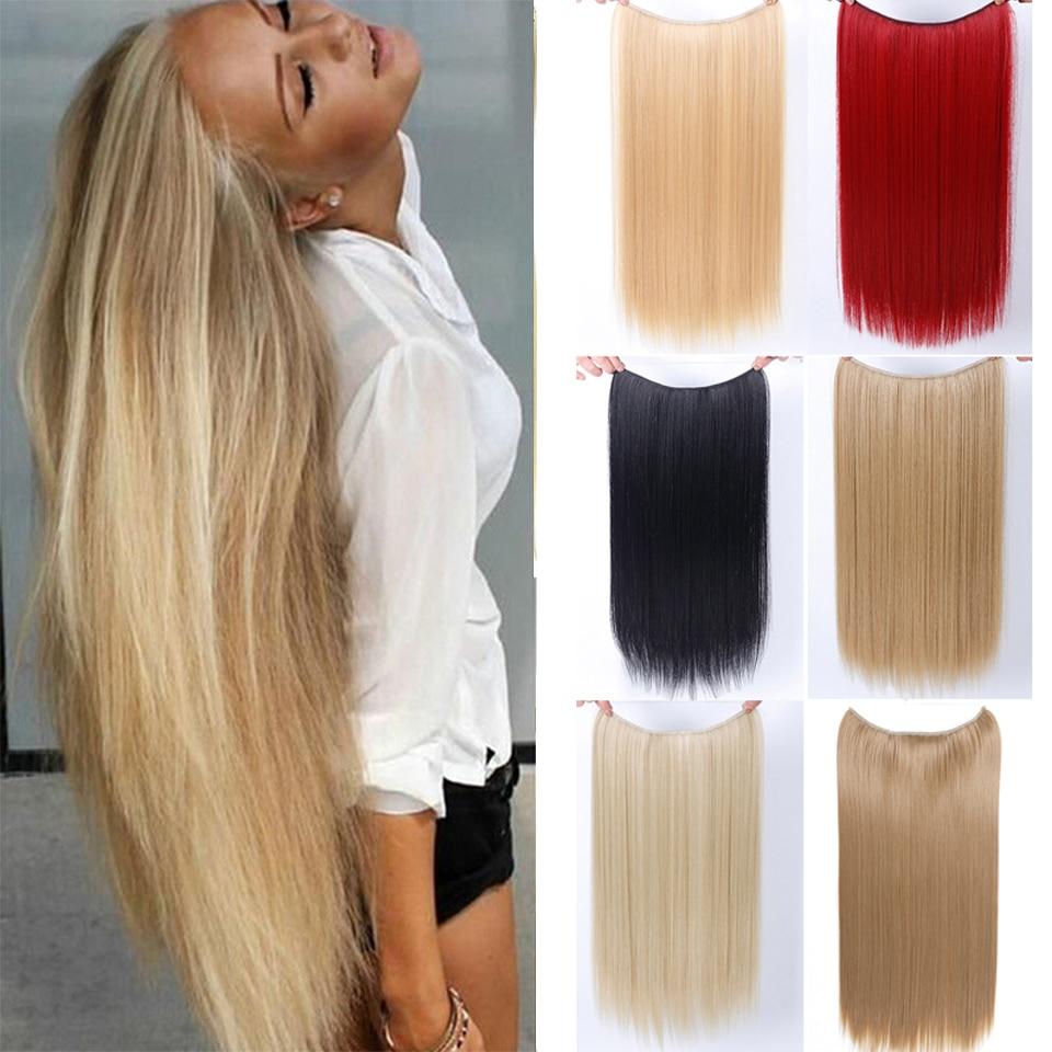 AOSIWIG 22 ''ארוך אפור חום השיער עמיד Hairpieces סינטטי בלונדינית דגי קו Halo בלתי נראה גלי הארכת שיער