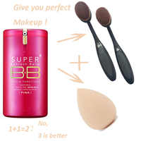 Gold Pink BB Cream Super Beblesh Balm Make Up Cover Concealer SPF30 PA++ Foundation Brush + Egg Sponge Makeup Partner