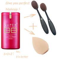 Gold Pink BB Cream Super Beblesh Balm Make Up Cover Concealer SPF30 PA++ Foundation Brush + Egg Sponge Makeup Partner