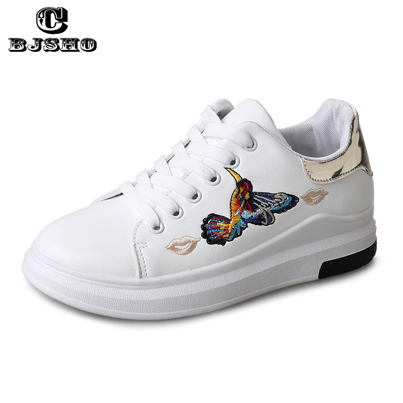CBJSHO Women Platform Sneakers 2018 Lace Up Flat Students Embroidery Women Casual Shoes Breathable PU Leather Shoes Female fashion embroidery flat platform shoes women casual shoes female soft breathable walking cute students canvas shoes tufli tenis