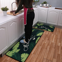 2Pcs/Set Polyester+Rubber Slip-resistant Washable Entrance Doormat Floor Mat Kitchen Long Carpet Corridor Rug Front Door Mats