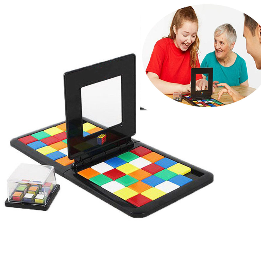 2 In 1 Rubike Race Parent-child Interactive Puzzle Jigsaw Cube Game Board Learning Family Party Cubes Puzzles For Kids Adults