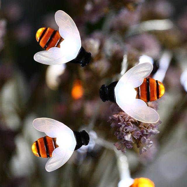 New Cute Bee Shape Led Light String 4M Solar Fairy Lighting Waterproof Holiday Christmas Indoor/Outdoor Party Garden Light