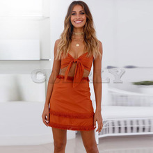 Cuerly Boho Two Pieces Set Women Tassel Bow Casual Beach Summer Dress Spaghetti Strap Sexy Club Bodycon Wrap Mini Party L8