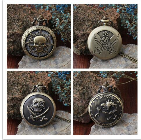 One Piece Pirates Of The Caribbean Horde Steampunk Men And Woman Bronze Antiques Necklace Pocket Watches Gift KJH52