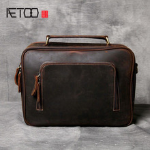 AETOO Simple imported first layer of leather briefcase men and women casual leather shoulder bag handmade original retro